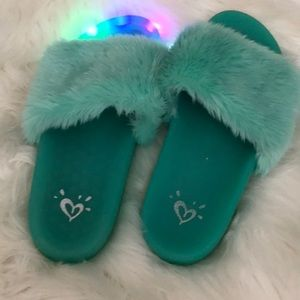Faux Fur Light Up Slippers Justice Girls Green